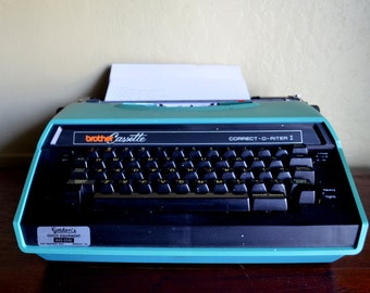 Vintage Brother Correct-O-Riter I Electric Typewriter, Turquoise, Includes Case and Instructions, Works, circa 1980s