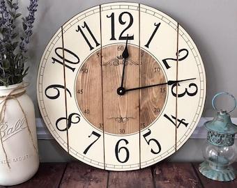 16 Inch Farmhouse Clock - Rustic Wall Clock - Small Wall Clock - Unique Wall Clock - Personalized Clock - Distressed Clock - Wooden Clock