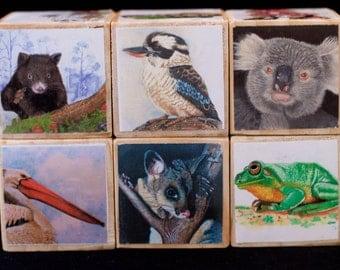 wooden blocks, baby blocks, australian wildlife, original artwork, stacking toys, baby boy gift, baby girl gift, toy blocks, building blocks