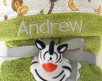 Safari Animals Hooded Baby Towel,baby bath towel,personalized towels,baby towel gift,hooded towel kids,hooded toddler towel,kids bath towel
