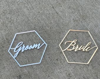 "Bride and Groom Geometric Signs 4"" x 3""