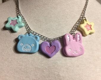 Kawaii Bunny and Bear Necklace