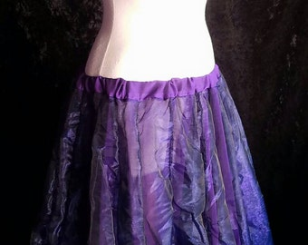 Purple Organza Ciffon Bellydance Fairy Faerie Pwtal Skirt Sheer M/L