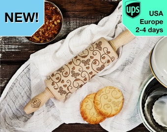 Butterfly with floral - MINI laser engraved rolling pin