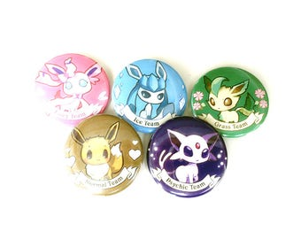 "Eevee Evolutions 1.5"" Button SET B: Eeevee, Espeon, Leafeon, Glaceon, Sylveon"