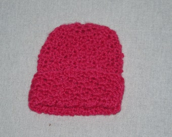 Dark Pink Preemie Baby Hat