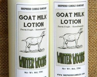 Mens Lotion, Goats Milk Lotion, Winter Woods, 8 oz, Handmade lotion, natural lotion, goats milk, Tobacco Vanilla lotion
