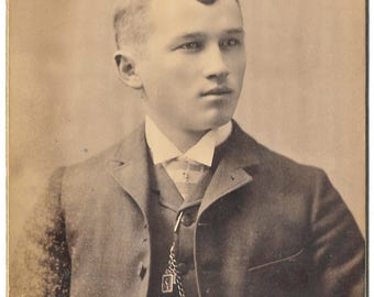 Cabinet Card Photo Ann Arbor Michigan - Man with Watch Chain