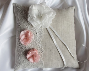 Pink linen and ivory lace ring pillow