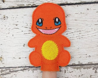 Char Felt Finger Puppet - Pretend Play - Party Favors - Birthday - Pokemon - Travel Toy - Quiet Game - Quiet Play