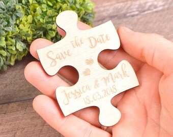 Wood Save-the-Date magnet puzzle Save the date wooden magnets Save-the-Date Puzzle Save The Date rustic wooden save the date jigsaw Invite