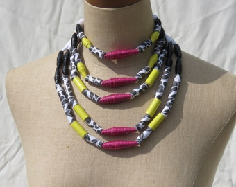 Statement Necklace; Layered beads; Paper bead necklace; African jewelry