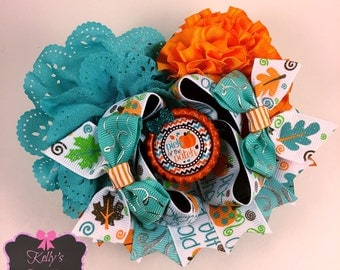 "Ott hair bow/ 4.5"" hair bow/ fall hair bow / pumpkin bow/ happy fall hair bow"
