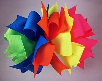 Large neon hair bow / hair bow / neons / summer hair bow / frwnch barrette hair bow