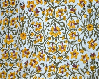 Floral Soft Cotton Fabric Sold by Yard, Indian Fabric for Apparels Cotton Summer Dresses Fabric - Block Print Cotton Fabric Quilting fabric