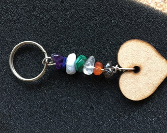 W138 Chakra and heart hanger or key ring