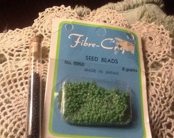 NOS, Vintage, Green, Black, Seed Beads, Fibre-Craft
