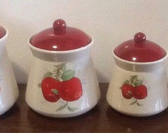 Red Apple Ceramic Pottery Canister Set of 4,  Country, Cottage, Farmhouse Kitchen, Flour, Sugar, Coffee, Tea