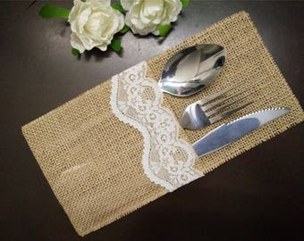 Set of 10-Burlap Silverware Holders,Burlap table decoration,Rustic table decor, Wedding Table Set,Table Setting,Wedding Rustic Menu-003-1