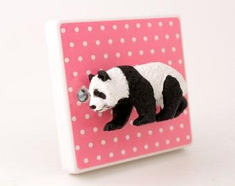 Decorative Light Switch with Cute Panda - Panda Home Decor - Pink Polka Dots - Pink Nursery Decor - Unique Panda Gift - Panda Light - Panda
