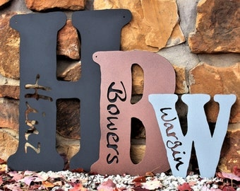 Rustic Metal Letter Decor -Custom Metal Sign- Personalized Metal Letters -Metal Anniversary Gift: 7th Anniversary Gift Copper, 11th Steel