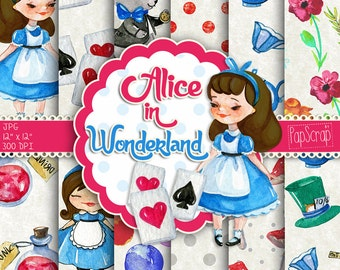Alice in Wonderland , watercolor digital paper, Mad Hatter Scrapbook Tea Party Background Fairytale Baby Shower, Digital paper pack