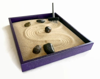 Zen Gifts Purple Decor Meditation Gifts Sand Garden - Zen Garden Purple Desk Accessories - Relaxation Kit Anxiety Toy Stress Relief