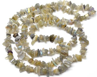 "1 strand 32"" length Natural Labradorite  Stone Chips Loose Beads High Quality Jewelry making materials"