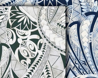 Fabric Turtle Polynesian Tattoo Symbols, Navy Green, Cotton Poplin HCN10105/HCN10125, Ask for bulk