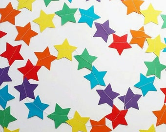 Rainbow Stars Paper Garland, nursery decor, baby shower, birthday, UK seller