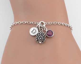 Silver Hedgehog Bracelet Personalized, Initial Birthstone Bracelet, Animal Jewelry, Hedgehog Charm Bracelet, Animal Bracelets, Wildlife