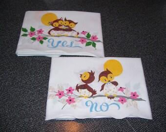 Yes No Pillowcases Owl Pillowcases Message Pillowcases Set of 2 Vintage