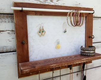 Jewelry Organizer - Jewelry Hanger - Wooden Wall Hanging Jewelry Shelf  - Graduation Gift