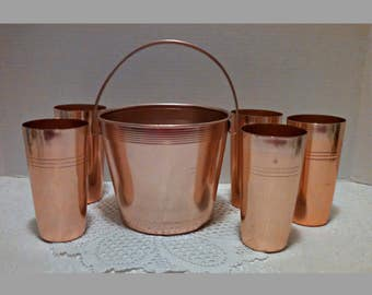 Vintage Ice Bucket and 5 Tumbler Set, Copper Colored Anodized Aluminum, by West Bend and Kings Brand, Mid Century Barware, Circa 1950s