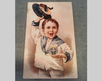 Antique Victorian Trade Card for Heinz Baked Beans, Sailor Boy, Collectible Lithograph Advertisement, Circa 1890s