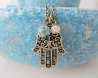 Hamsa necklace, bronze necklace, yoga necklace