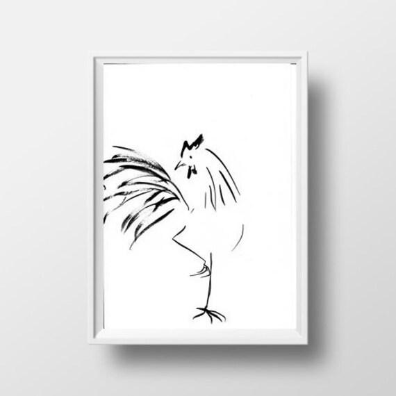 Coq dessin noir blanc sumi e peinture minimaliste dessin for Dessin minimaliste