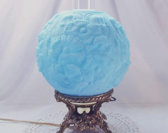 Fenton Poppy Lamp Blue Satin Glass - Electric - Single Shade Gone With The Wind Lamp - Hurricane Lamp