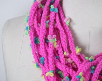 Cable knitting flowers ,Scarf Knit Infinity Scarf, Womens Knit scarf,flower scarf