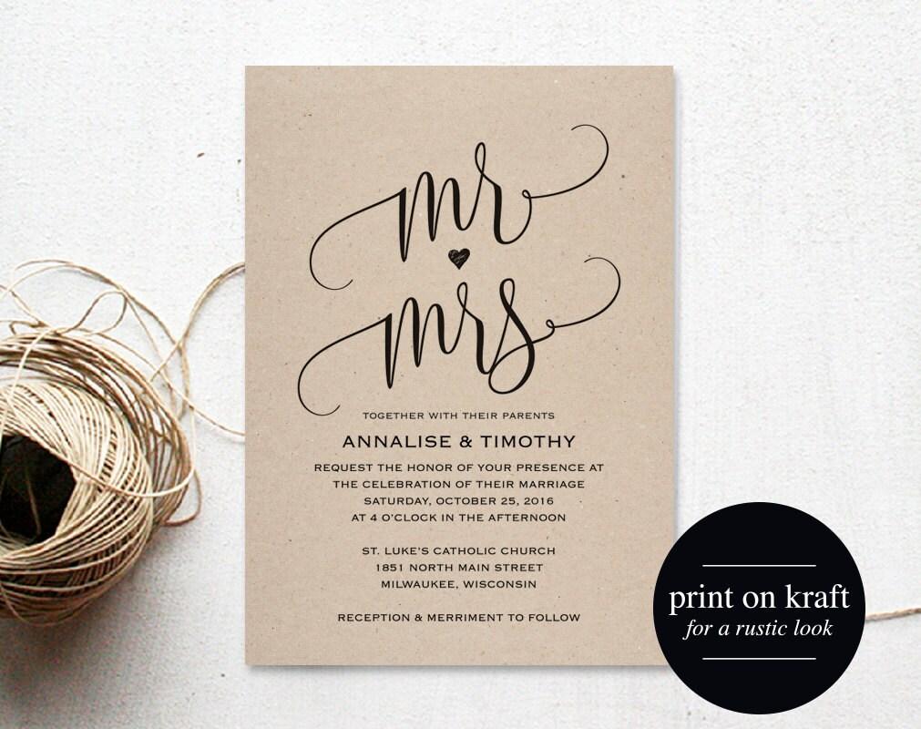 Mr And Mrs Wedding Invitation Wording: Wedding Invitation Template Mr And Mrs Wedding Invitation