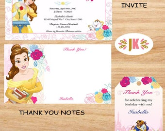 Beauty and the Beast Princess Belle  Printed Birthday Invitations