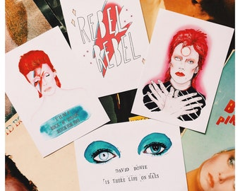 David Bowie Inspired 5 X 7 Print Set