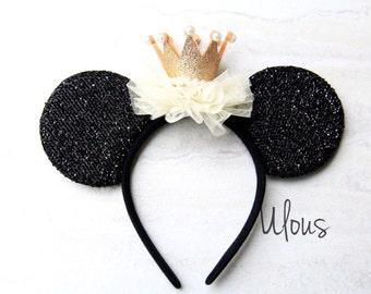 Tiara Minnie Ears, Tiara Mickey Ears, Crown Mickey Ears, Crown Minnie Ears, Princess Ears, Party Mickey Ears,Crown Ears, Gold Crown Ears