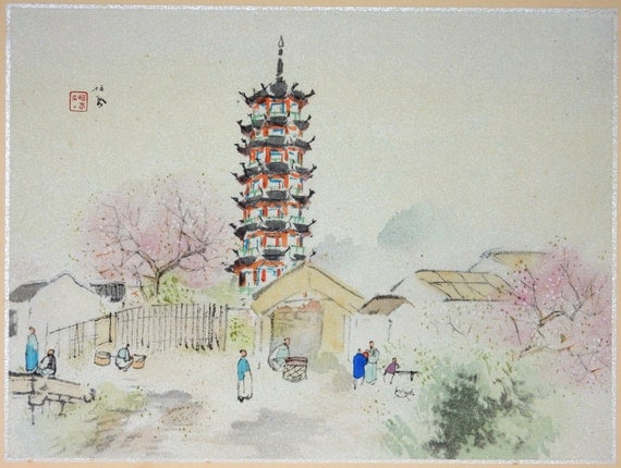 "1936, Japanese antique print, Takeuchi Seihō, "" Longhua Temple, Jiāngnán"""