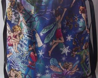 Fairy print drawstring make up bag
