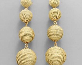 Gold Shimmer BonBon Drop Earrings
