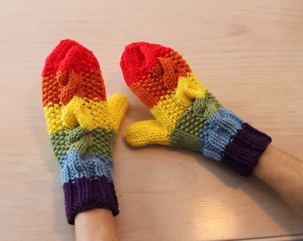 Womens cable knit rainbow mittens