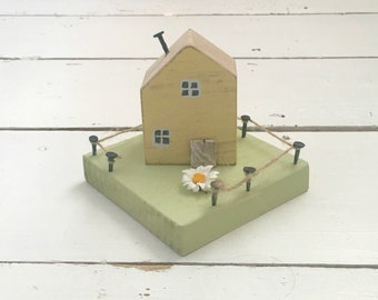 Yellow House Ornament, Wooden Quaint Cottage, House Decoration, Houses on Wood, Hand Painted House and Garden, Reclaimed Wood Gift, Cottages