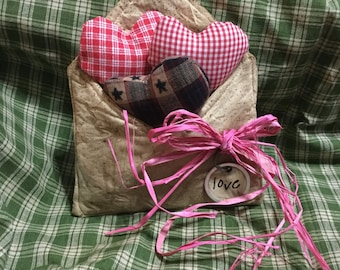 Primitive Valentines Heart Homemade Sewing Cupboard Tuck Letter Love Grungy
