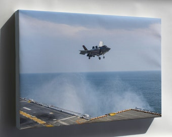 Canvas 24x36; Lockheed F-35B Lightning Ii Aircraft Uss Wasp (Lhd-1)